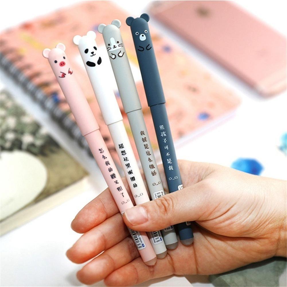 4 шт./компл. Милая животная искусственная рукоятка Легко протирается Волшебная фрикционная гелевая ручка Студенческая ручка случайный стил...