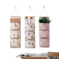 cartoon multilayer hanging organizers socks underwear storage bag multi purpose cotton linen wall wardrobe storage pockets