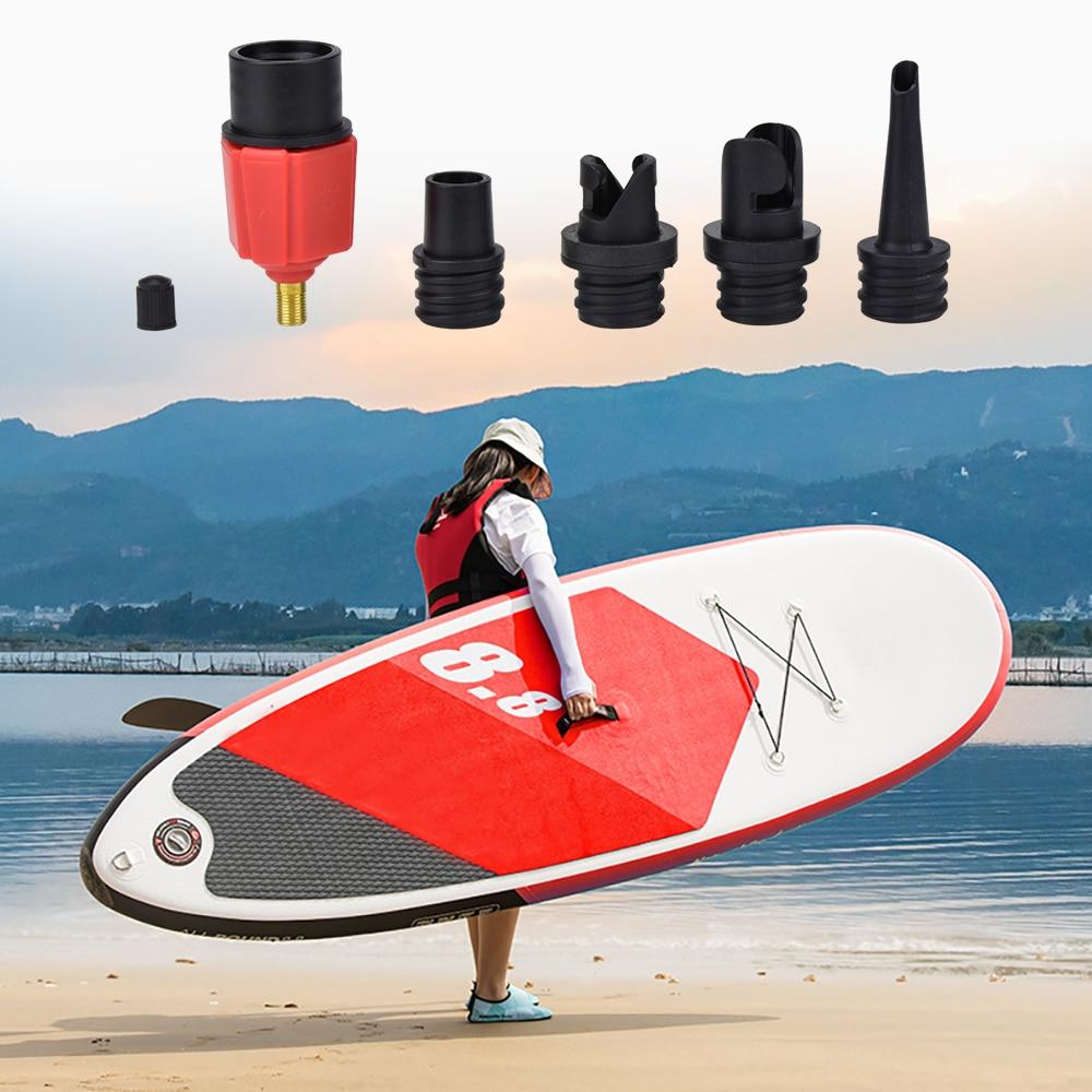 Adaptador de bomba inflable, adaptador de válvula de aire para tabla de Surf, Paddle Board, bote inflable en canoa, compresor para neumático, convertidor, 4 boquillas
