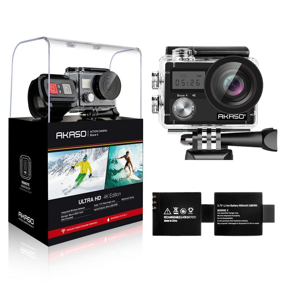 AKASO 4K 20MP Ultra HD Action Camera Brave 4 2'' WIFI EIS Underwater Waterproof Remote control Action Cam Helmet Sport Camera