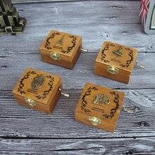 Retro Wooden Music Box Antique Hand Crank Engraved Toys Kids Birthday Gift