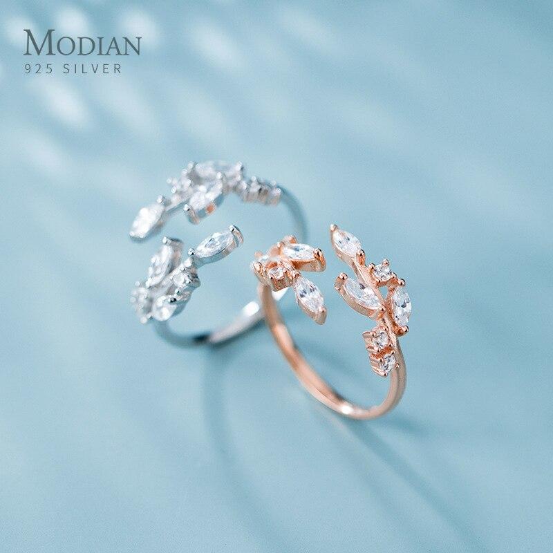 Modian cor de ouro rosa brilhando aaa zircon deixa anel para mulher 925 prata esterlina casamento anel de noivado jóias tamanho livre