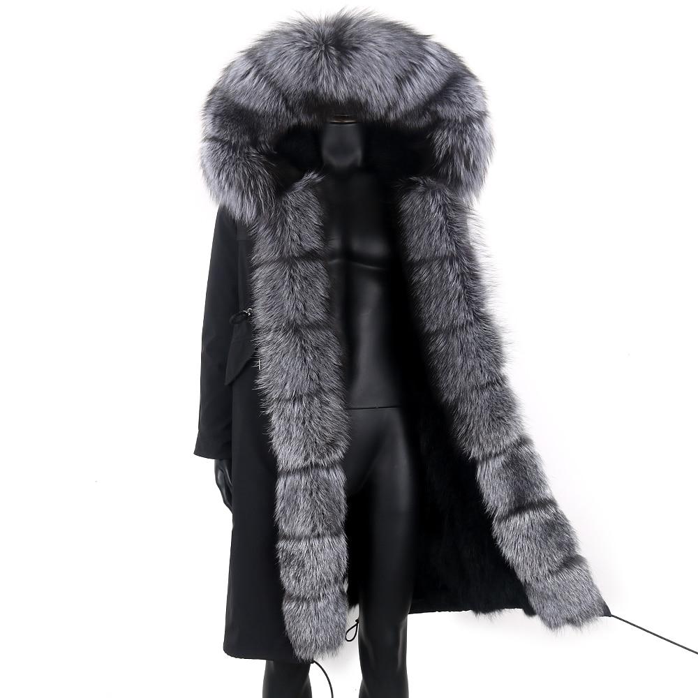 Мужская длинная парка со съемной подкладкой, теплая уличная куртка с воротником из натурального Лисьего меха и капюшоном, зимний сезон 2021