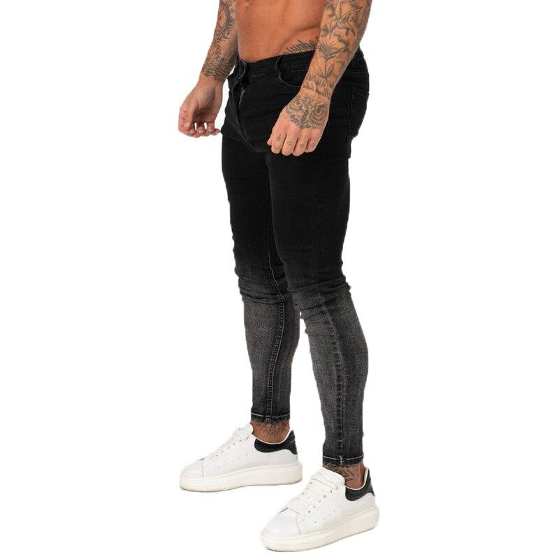 GINGTTO pantalones vaqueros para hombre Slim Fit Super ajustado Jeans para ropa de calle para hombre Hio Hop tobillo apretado cortado de cerca al cuerpo tamaño grande elástico