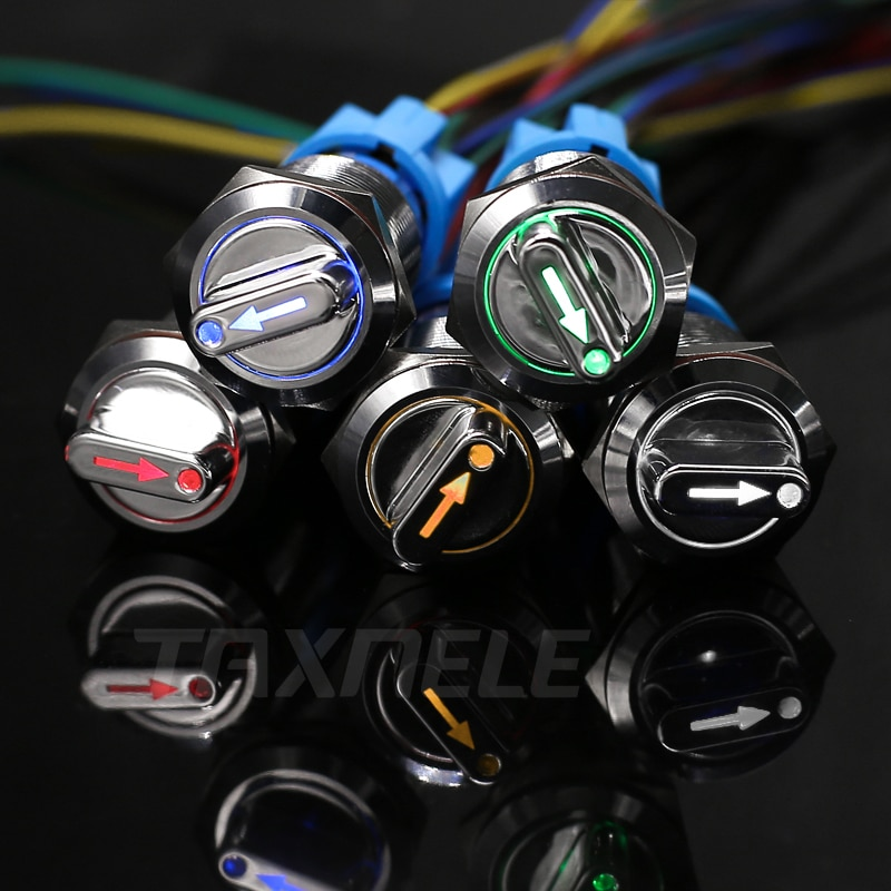 19mm 22mm led metal pulsador giratorio botón latón enganche 2 interruptor de 3 posiciones botón de presión rotatorio 2NO 2NC rotación del botón