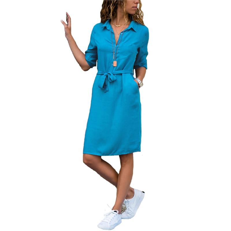 Fashion Turn-down Collar Spring Shirt Dress Women Three Quarter Sleeve Summer Dress Plus Size Casual