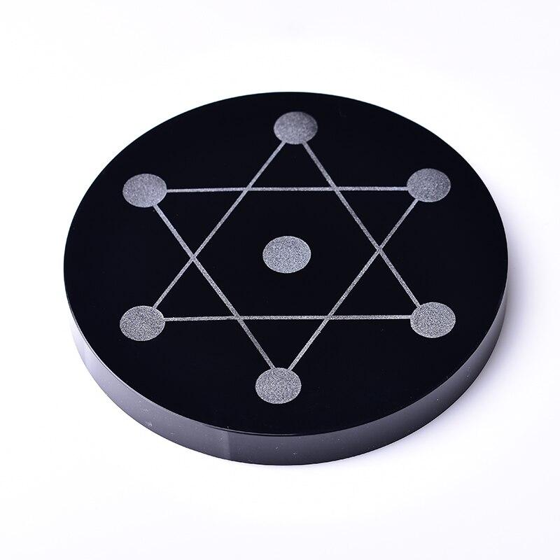 Obsidienne naturelle sept étoiles plaque 12cm pierre décoration de la maison Reiki énergie pierre verre décoration guérison pierre ornements disque