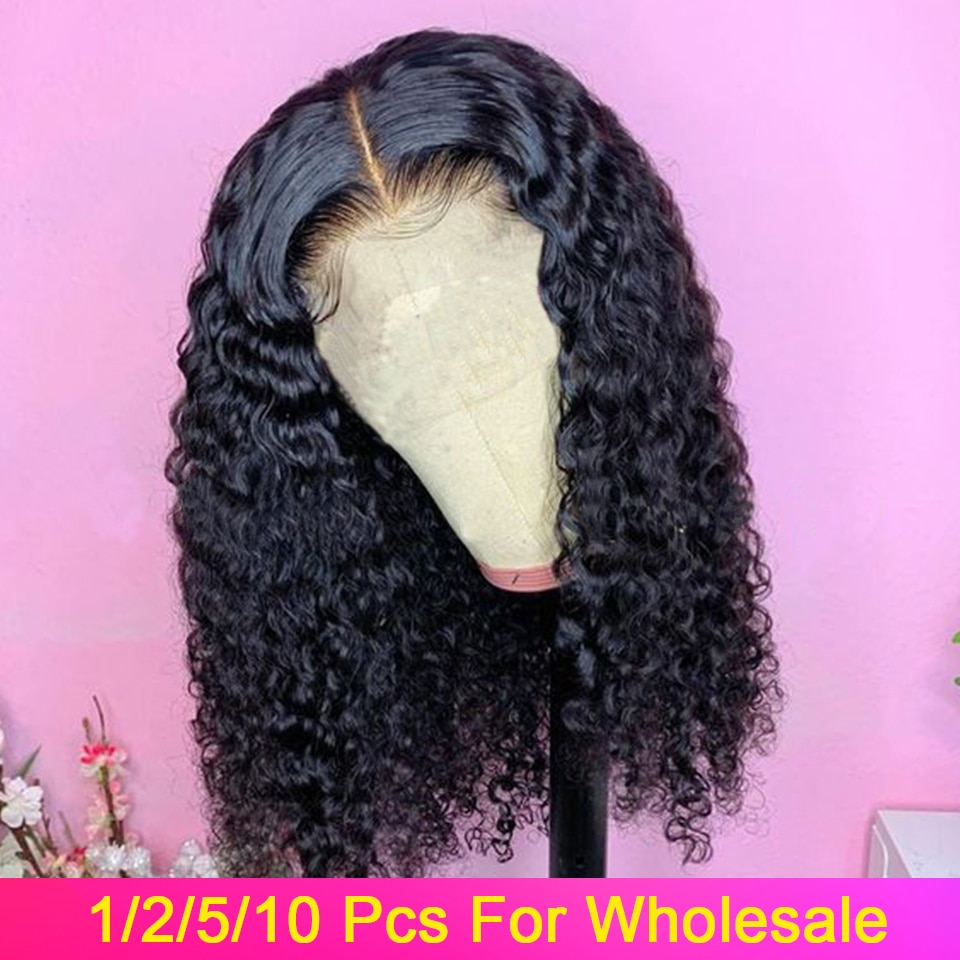 Rizado Bob Peluca de cabello humano corto frente de encaje pelo humano con corte Bob pelucas 1/2/5/10 Pcs/Lot 150% pelo Remy malayo Frontal de encaje pelucas