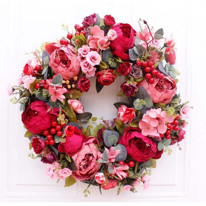 Flores artificiales de decoración navideña de 45/45/50 cm, corona de peonía, corona redonda de primavera para la puerta delantera, decoración del hogar, boda