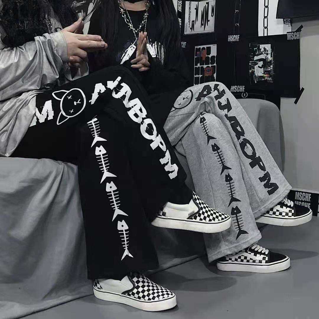 Harajuku cartoon printing fashion Japanese hip hop wide leg pants men's and women's casual Street el