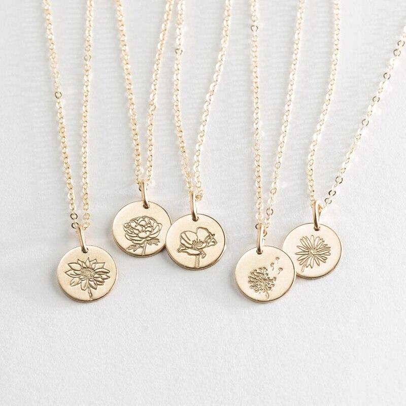 الزهور قلادة عيد ميلاد مجوهرات Handmade13MM/16 مللي متر عملات المختنق 14K الذهب شغل المعلقات كولير Kolye مجوهرات بوهو قلادة