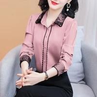 korean silk shirts women satin blouses shirt for women long sleeve lace patchwork blouse woman silk embroidery blouse plus size
