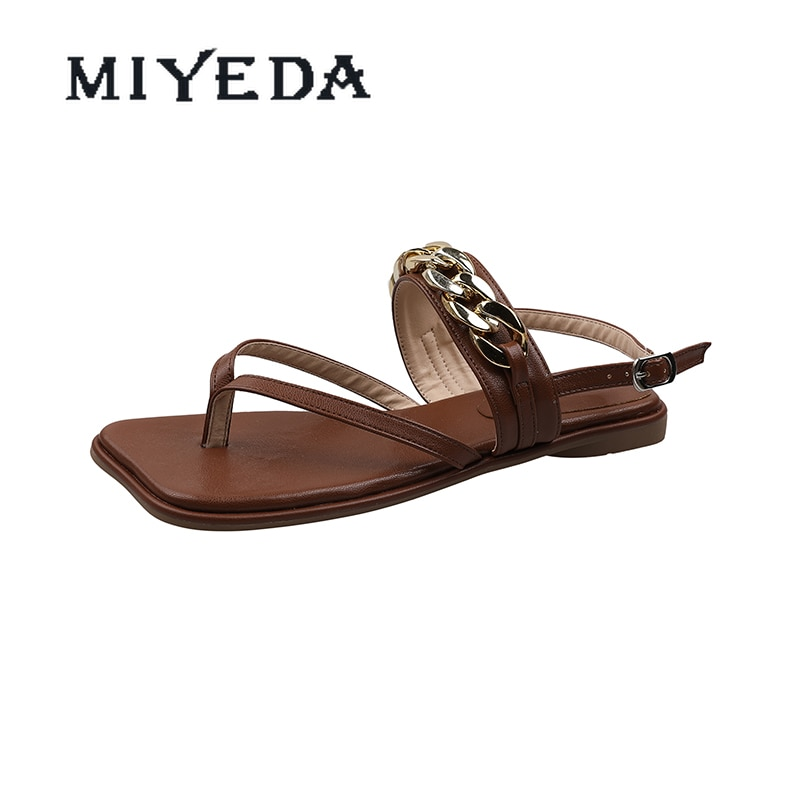 MIYEDA Women Summer Flip Flops Weave Metal Chain Novelty Female Sandals Outdoor Casual Beach Handmade Woman's Flats