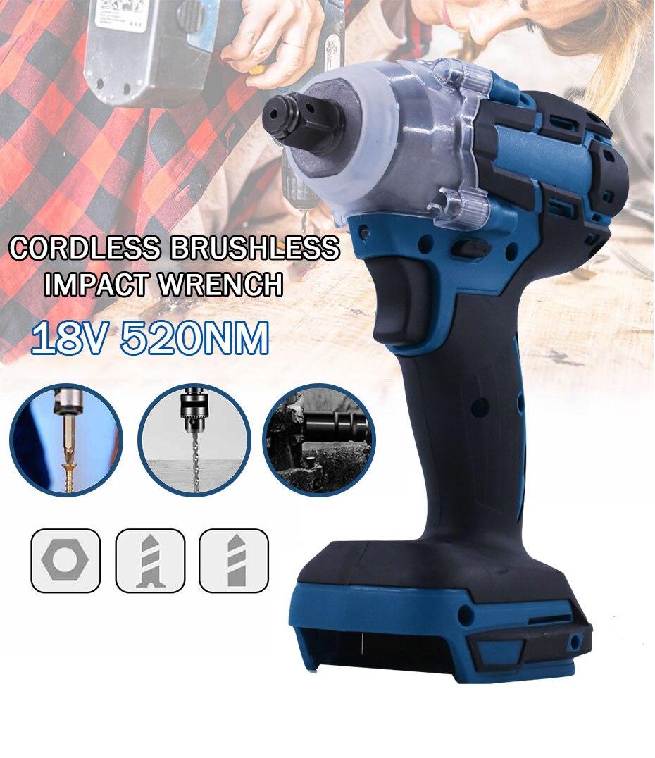 18v 520nm elétrica brushless chave de impacto sem fio 1/2 chave soquete chave chave de fenda conjunto de ferramentas elétricas para makita bateria dtw285z