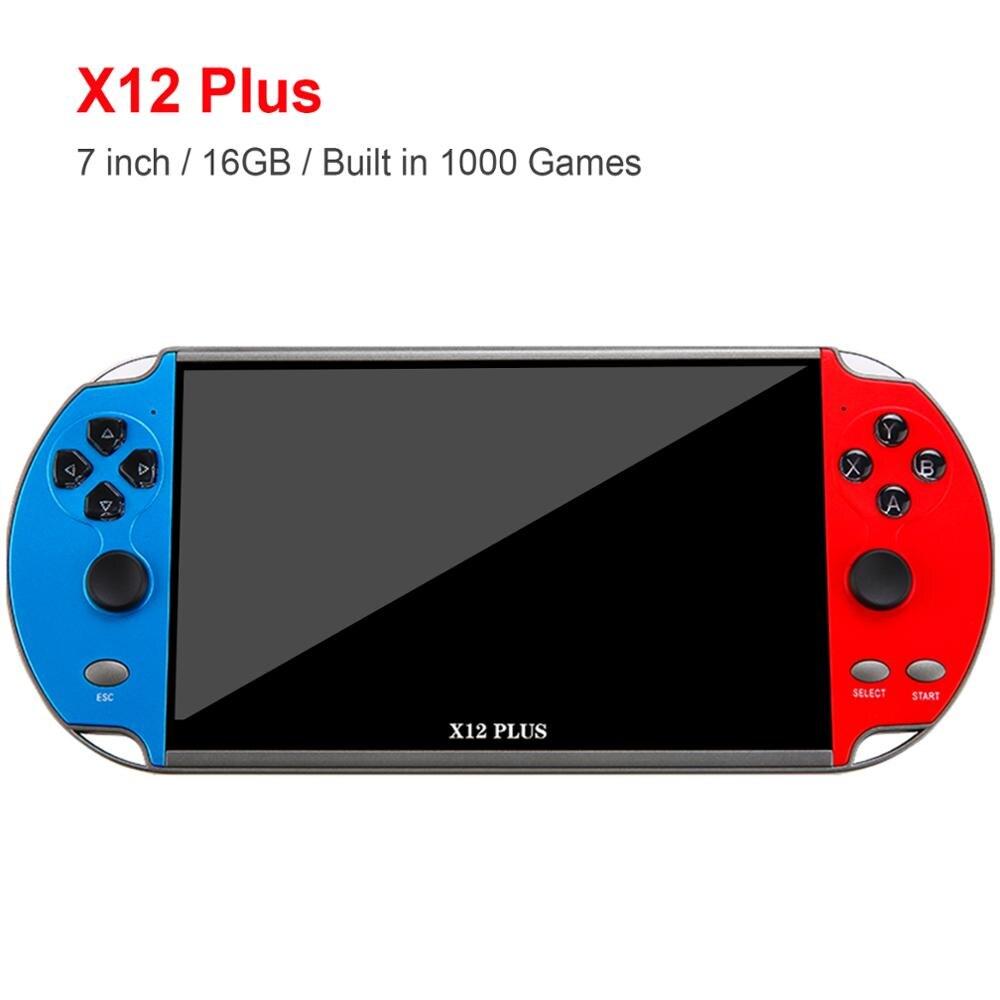 X12 زائد 7 بوصة لعبة فيديو وحدة التحكم بنيت في 1000 ألعاب 16 جيجابايت يده مزدوجة المقود أذرع التحكم في ألعاب الفيديو Spupport AV إخراج TF بطاقة