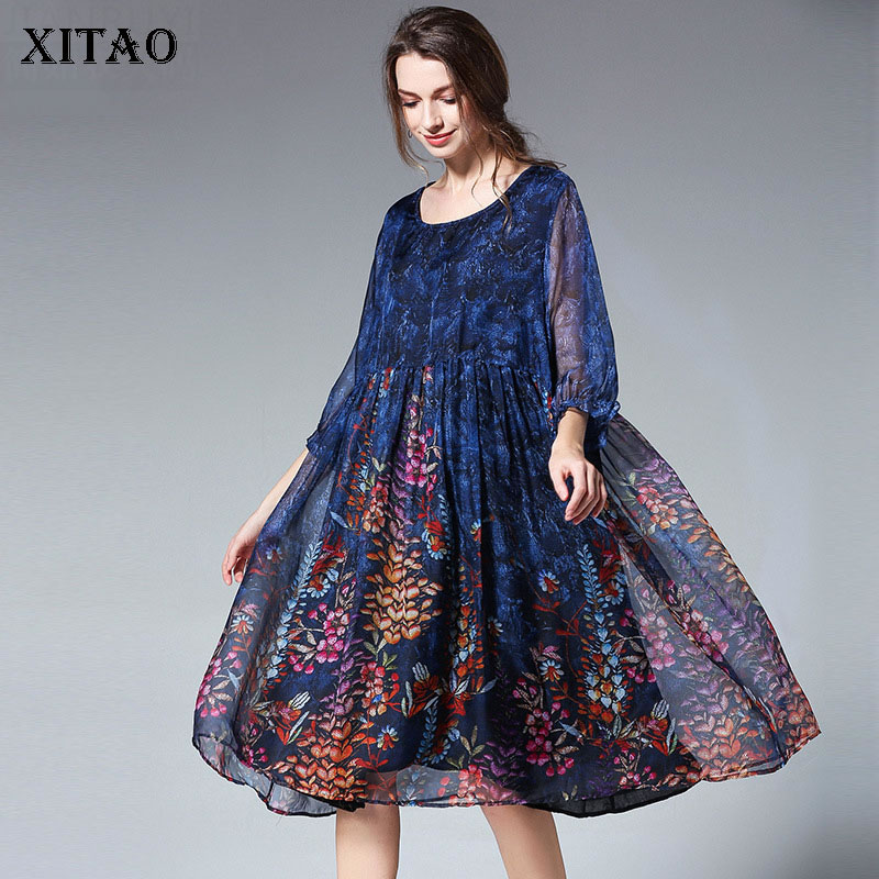 XITAO-ropa de mujer de talla grande, vestido holgado con estampado de gasa, moda femenina, manga corta, novedad de verano DMY4143, 2020