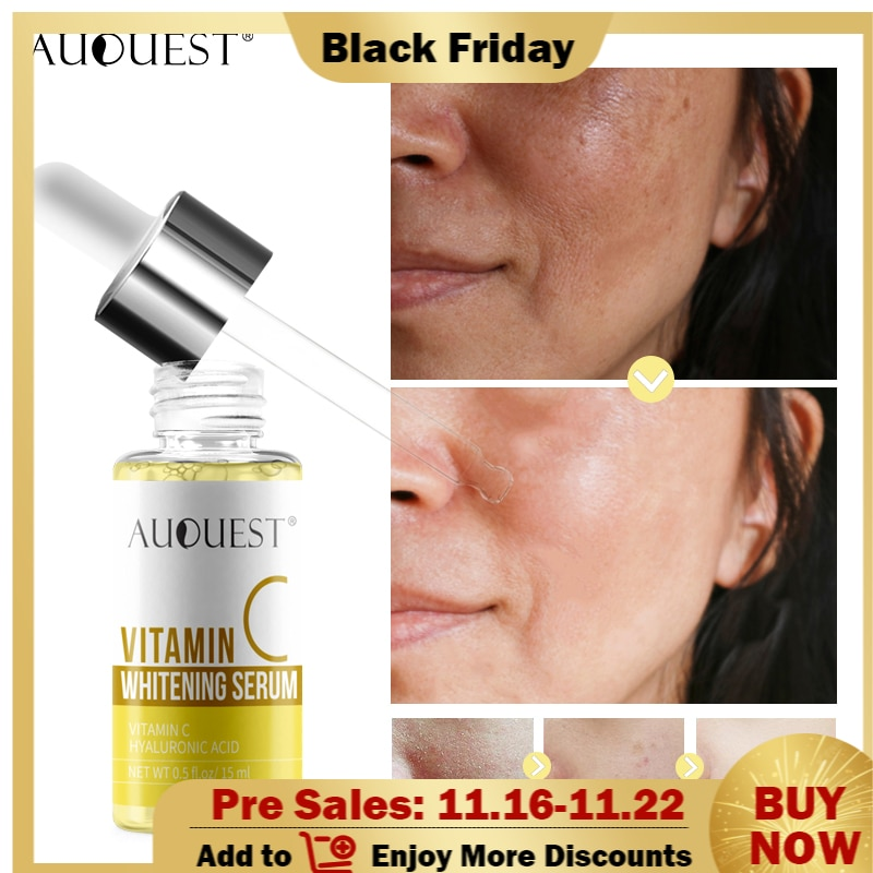AuQuest 15ml Vitamin C Whitening Serum Hyaluronic Acid Face Cream Moisturizing Wrinkle Fade Dark Spots Anti-Aging Skin Care