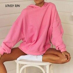 Outono oversize quente hoodies das mulheres sólido morcego manga longa roupas para casa feminino moletom com capuz 2020 casual solto senhora pullovers