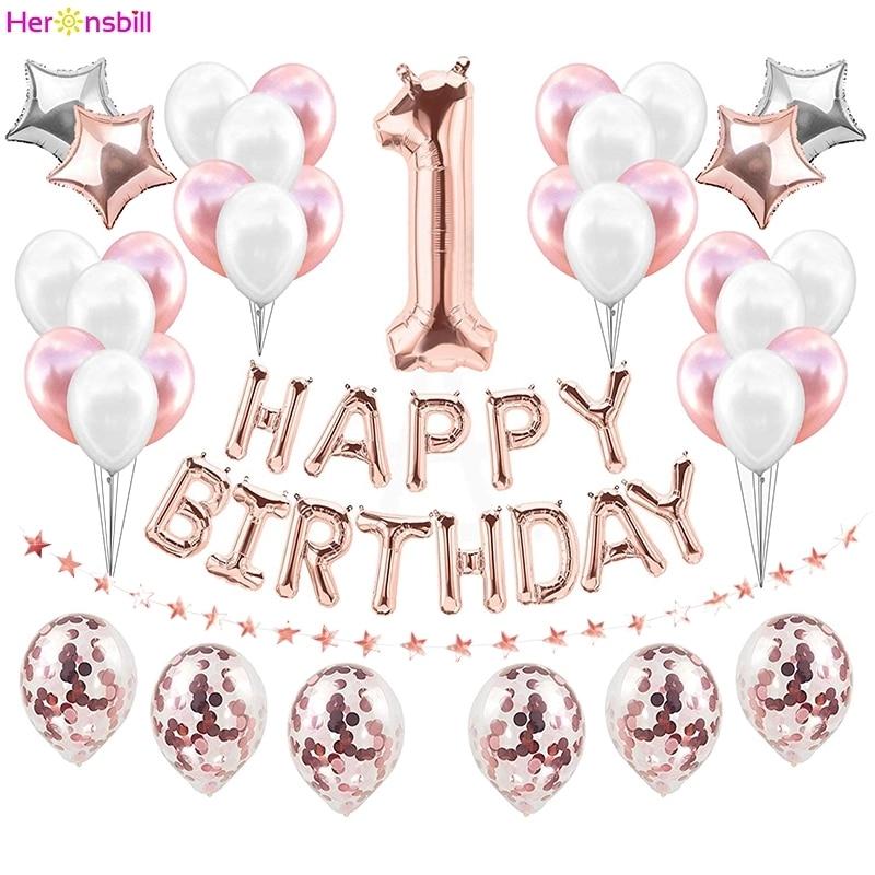 1st Buon Compleanno Palloncino Impostato Il Mio Primo Decorazioni Del Partito Dei Capretti Del Bambino Della Ragazza del Ragazzo SONO UN 1 Anni di Età Forniture oro rosa