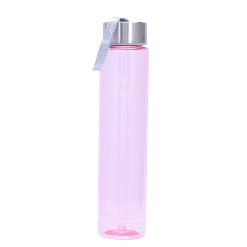 Botella de agua de plástico irrompible para deportes de bicicleta portátil transparente de 280ML (Color Rosa)