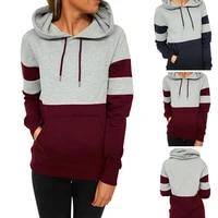 contrast wine red hoodie 3xl sweatshirt women dark blue color block patchwork poleron mujer 2021 hipster hoodie rope plus size