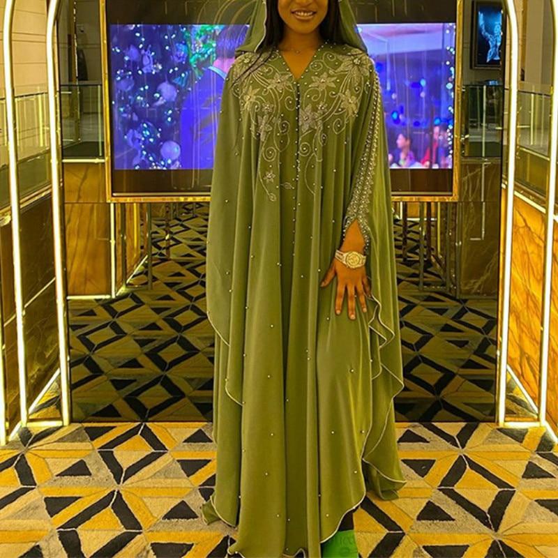 Femmes longue robe ample diamant perle robes africaines Dashiki traditionnel Boubou vêtements africains Abaya Musulman turquie Musulman manteau