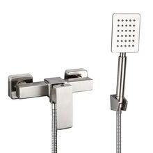 Ensemble de robinets de bain-douche en acier   Ensemble classique de douche en acier inoxydable, baignoire murale, robinet mitigeur deau froide et chaude, pomme de douche à main
