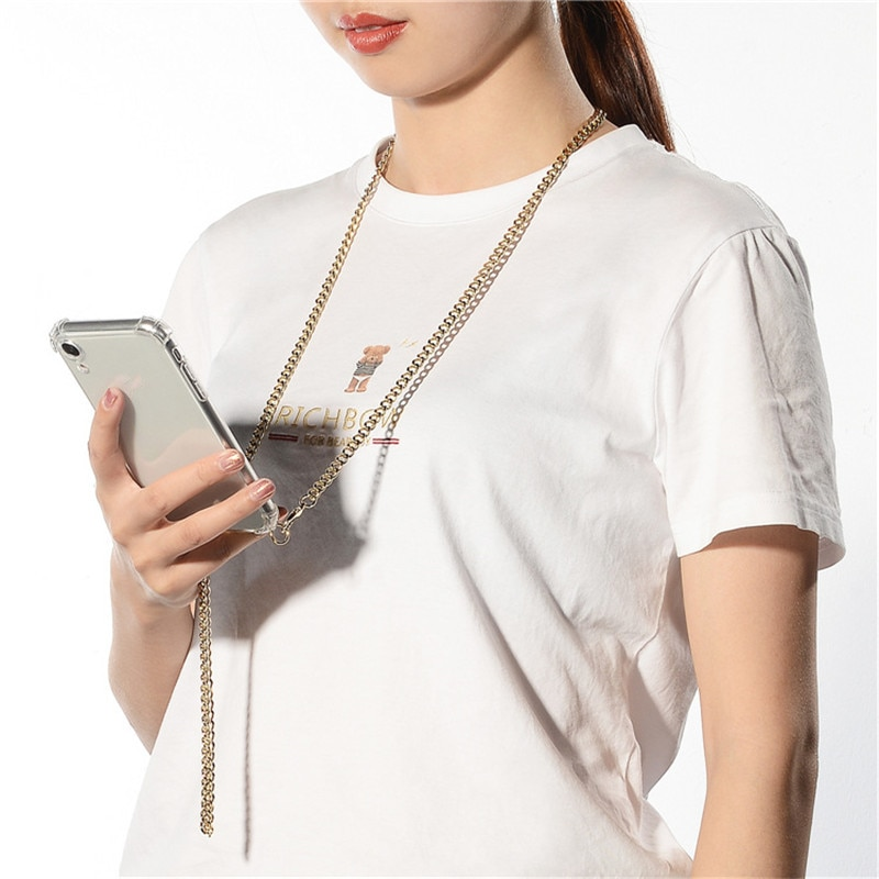 AliExpress - Crossbody Strap Cord Chain Tape Necklace Metal Chain Phone Case For Huawei P40 P30 P20 P10 pro lite Mate 30 20 10 proClear Cover
