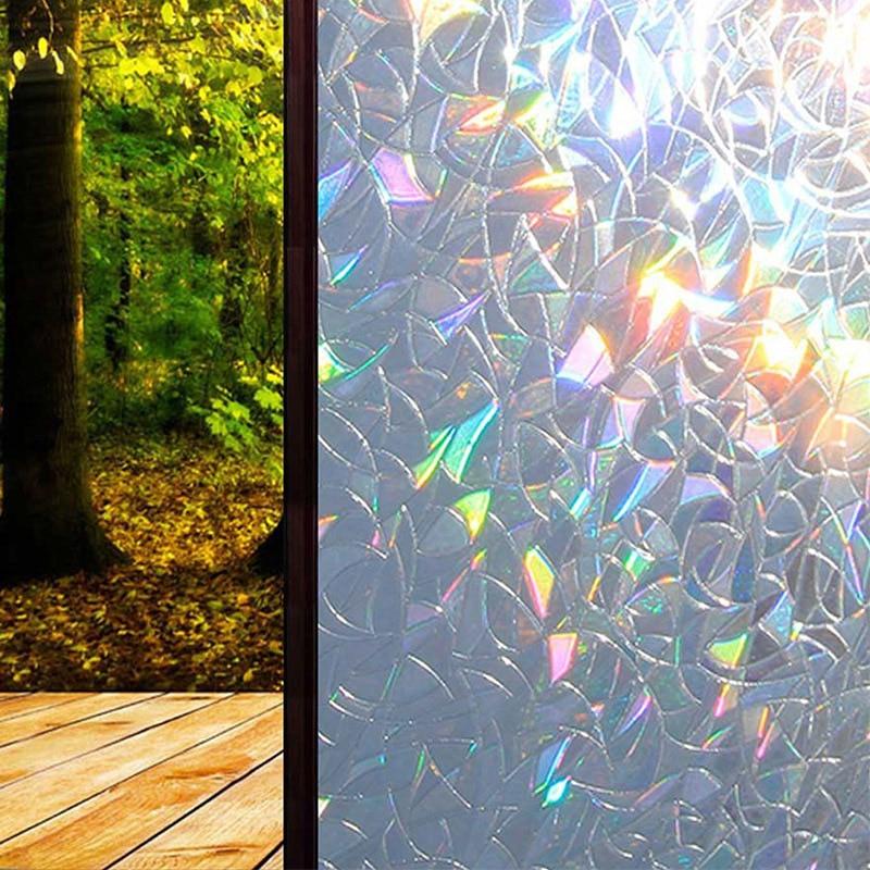 ¡Producto en oferta! Película de ventana refractante de PVC, colorida, estática, sin pegamento, para decoración de ventanas de vidrio extraíble