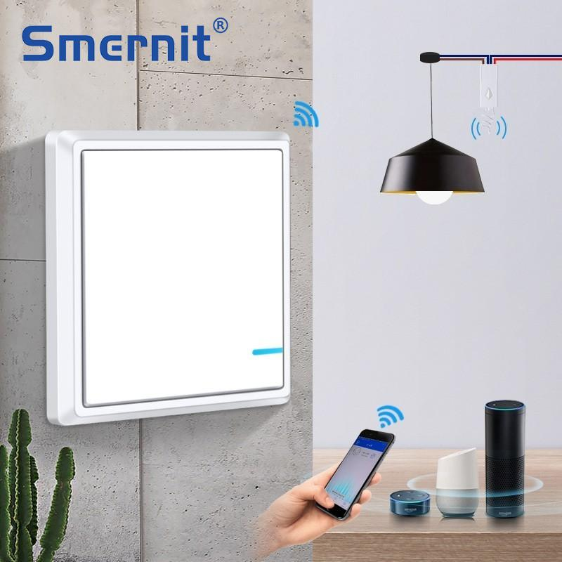Interruptor inalámbrico de Smernit, interruptor de pared con WiFi inteligente de 220 v, interruptores de luz de control remoto, interruptor táctil a prueba de agua