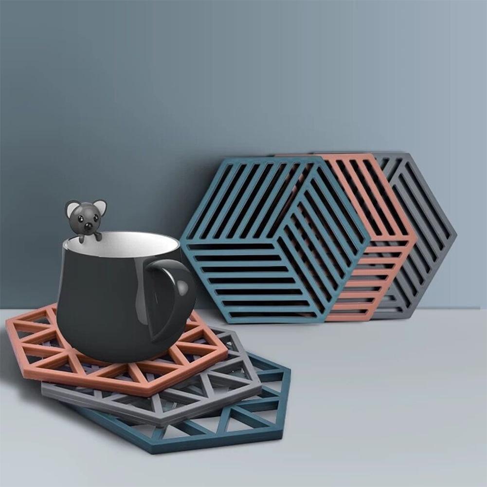 Mantel Individual, alfombra para mesa de silicona multiusos, almohadilla de aislamiento térmico, tapete de té, Beige/azul/Negro/rojo vino