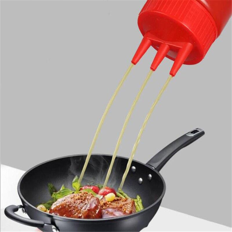 Botella de plástico de 3 orificios para aceite, vinagre, botellas, condimento, mostaza, vinagre, salsa de kétchup, Aceitera de cocina, utensilios