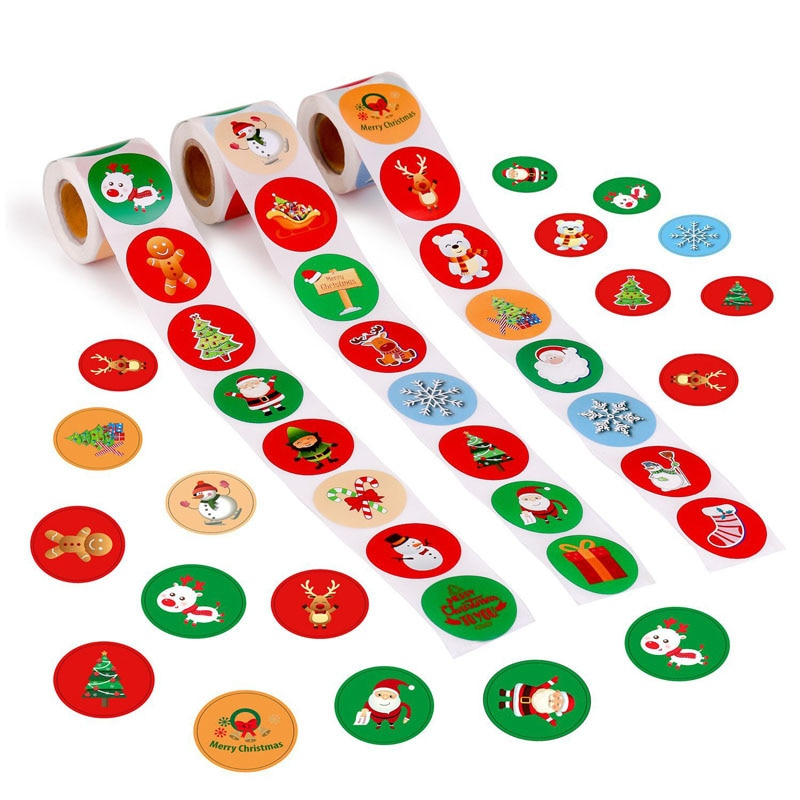 500pcs/roll Holiday Stickers Christmas Sticker Santa Claus Deer Decorative Adhesive Stationery Rewar