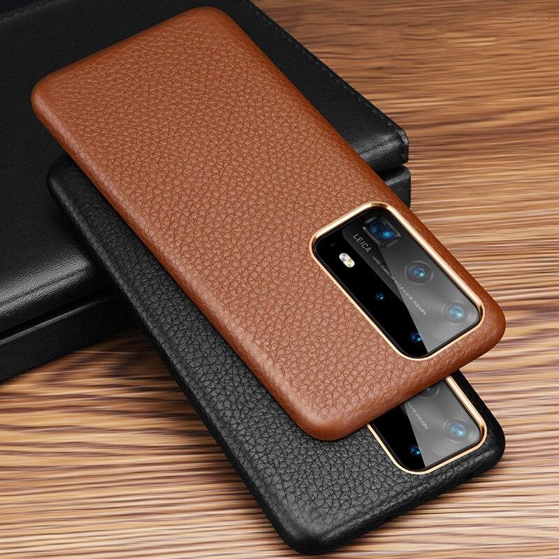 Funda trasera de lujo para teléfono Huawei P40 Pro Vintage Slim tacto suave primera capa Funda de cuero genuino para Huawei P40/ Pro funda bolsa