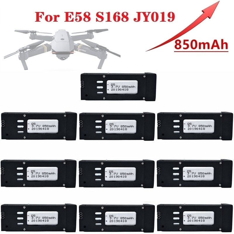 Upgraded 1-10Pcs 3.7V 850mAh Lipo Battery For E58 S168 JY019 RC Quadcopter Spare Parts 3.7v Drones B