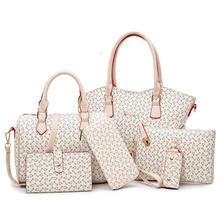 2019 جديد 6 قطعة مجموعة حقائب النساء حقائب يد جلدية عالية الجودة موضة حقيبة كتف عادية أنثى محفظة مصمم العلامة التجارية