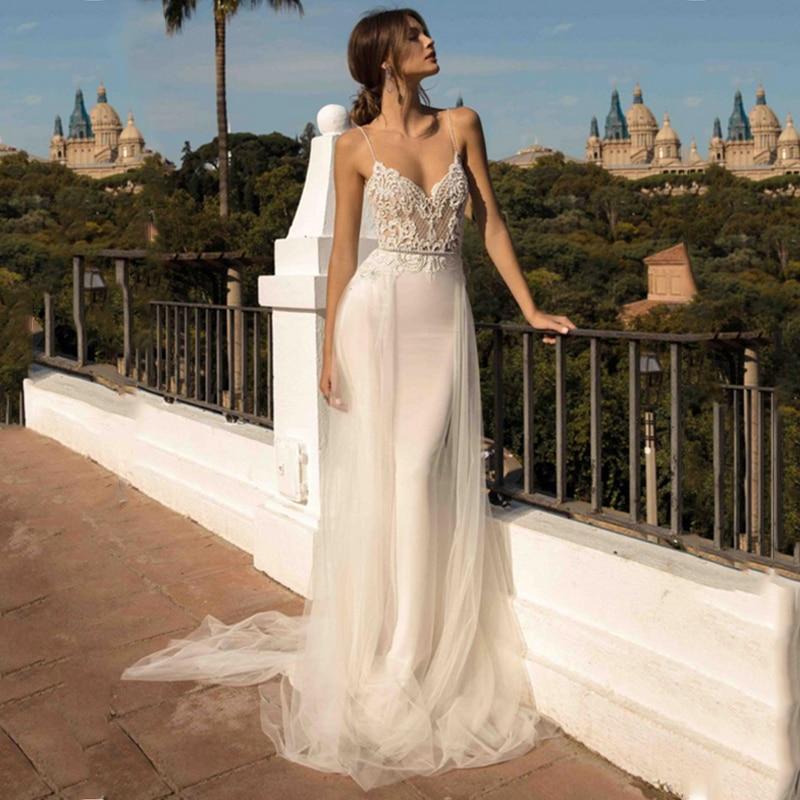 LORIE Beach Wedding Dresses Spaghetti Strap Mermaid Bride Dress  Backless Princess Long Wedding Gown Boho Bride Dress 2019