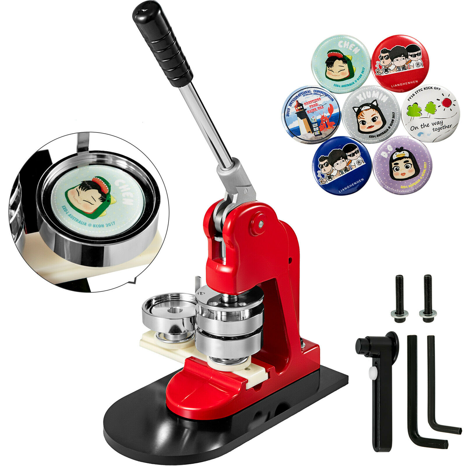 "1"" 25mm Button Maker Badge Punch Press Machine Free 1000 Parts Circle Cutter"