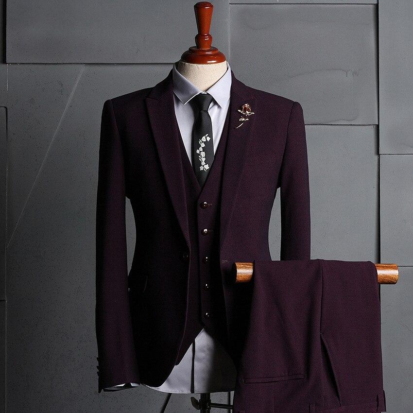 Elegant Burgundy Slim Fit Men Suit Groom Groomsmen Tuxedo Casual Prom Wedding Suits Suits for Men Party (Jacket+Pants+Vest)
