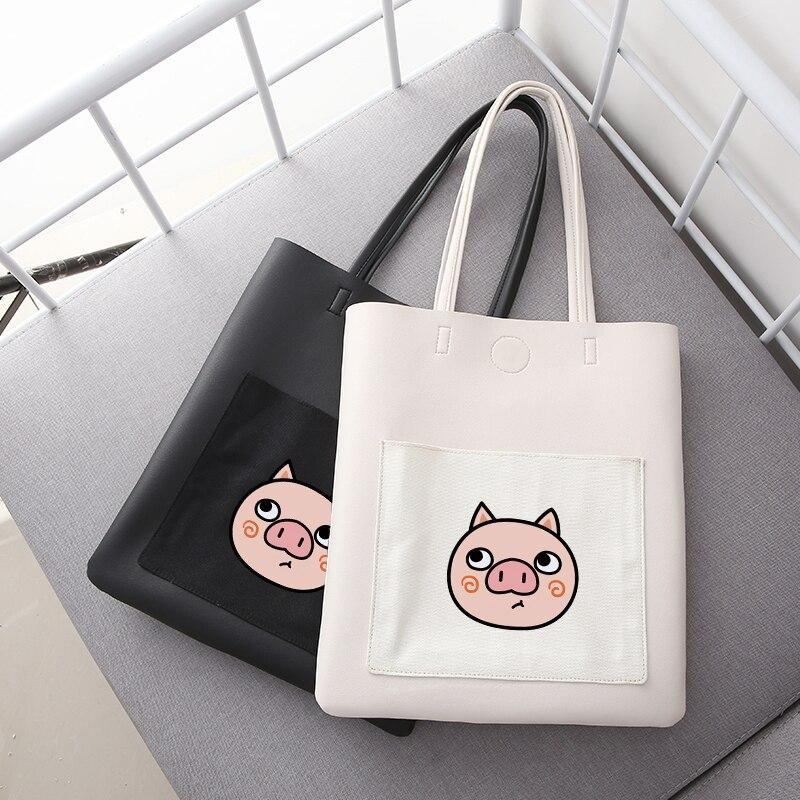 2019 Cool Big Pig Head High Capacity Women Tote Ladies Casual Shoulder Bag Foldable Reusable Shopping Beach Bag Shoulder Bags