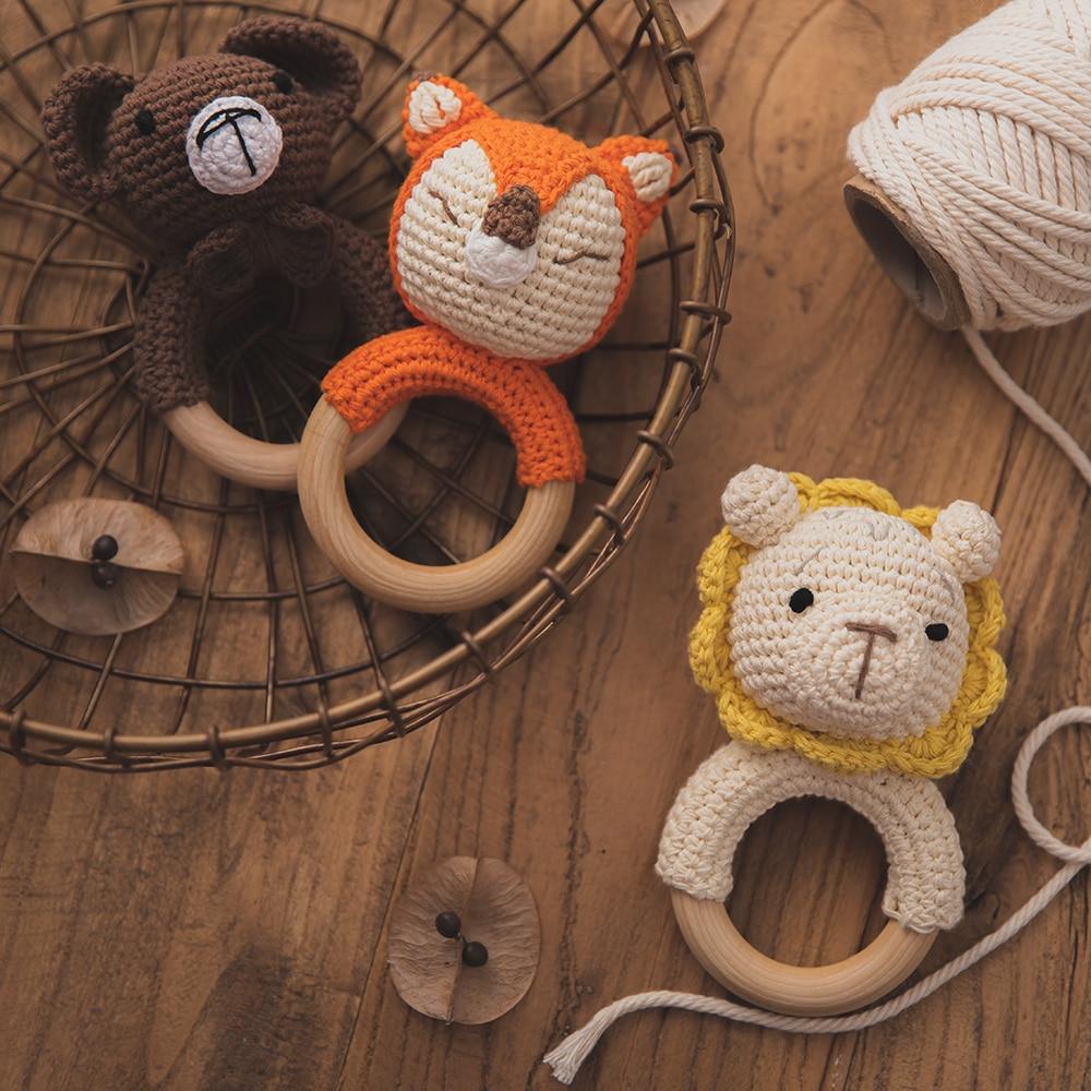 Детский безопасный Прорезыватель для зубов, деревянные игрушки, сделай сам, связанная крючком погремушка, деревянная детская игрушка для п...