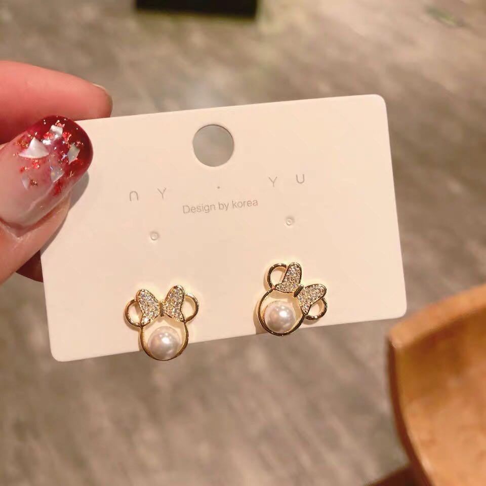 Anting-anting kristal mutiara kristal untuk wanita busur sederhana - Perhiasan fesyen - Foto 4