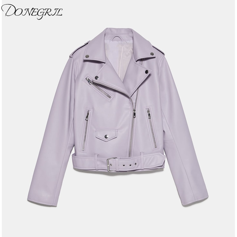 2020 Spring Autumn Pu Faux Leather Jacket Women White Black Zipper Slim Short Biker Jackets Coat Female Outwear With Sashes Tops enlarge