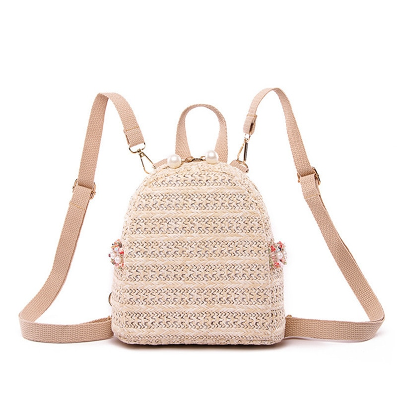 Vintage Pearls Beads Small Straw Women Backpack Casual Solid School Bags for Girls Pearl Decoration Backpacks 2021