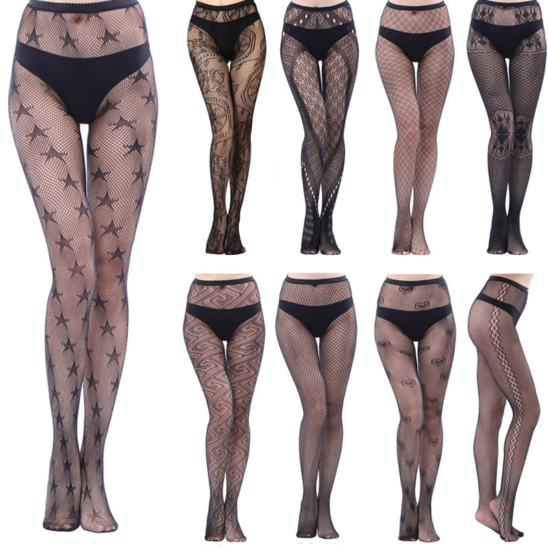 zigzag sheer mesh workout tights HSS Brand Hot Women Sexy Lingerie Mesh Black Pantyhose Stripe Elastic Stocking Fishnet Thigh Sheer Tights Embroidery Stockings