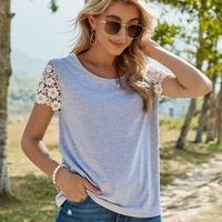 summer 2021 womens clothes short sleeves pure color lace sleeves round collar leisure loose fashion t shirt woman set head