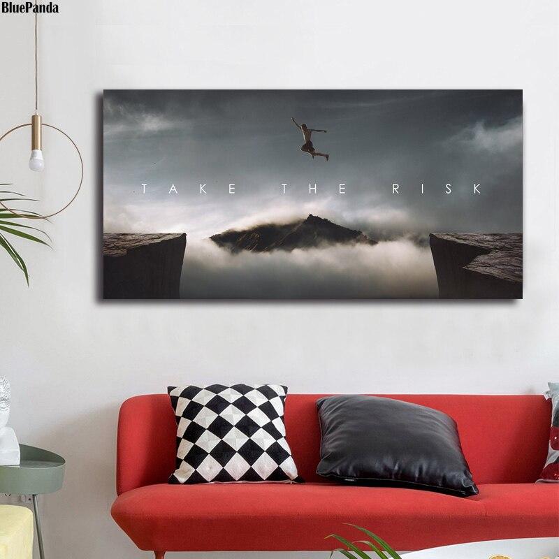 Toma el riesgo cita motivacional lienzo de arte minimalista póster impresión pintura abstracta cuadro de pared decoración moderna del hogar