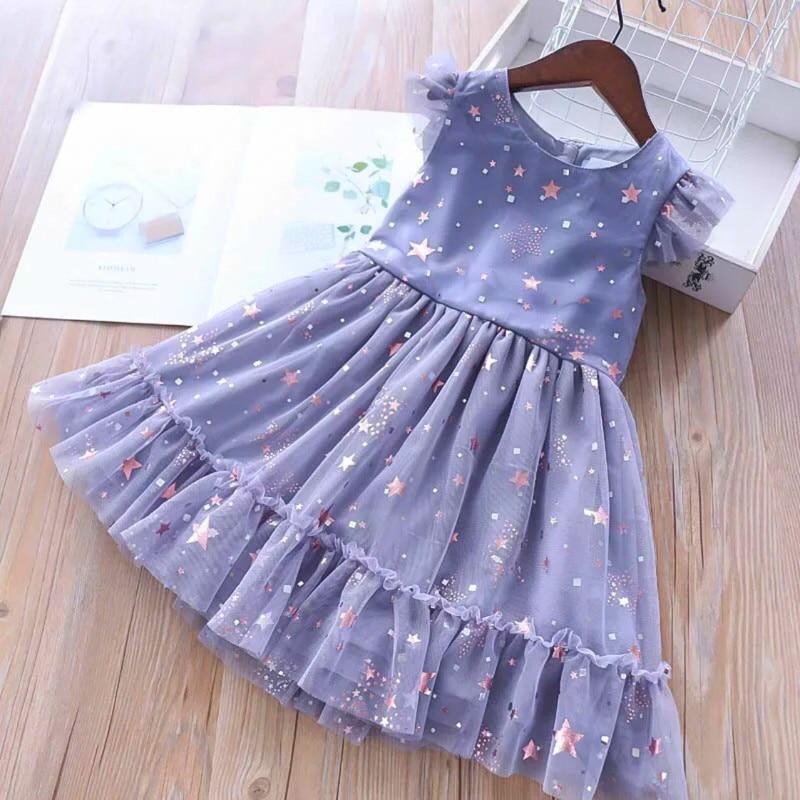 Girls Dresses 2019 Spring New Children's Wear Girls Sweet Five-Pointed Star Sequins Mesh Sleeveless Ruffled Dress