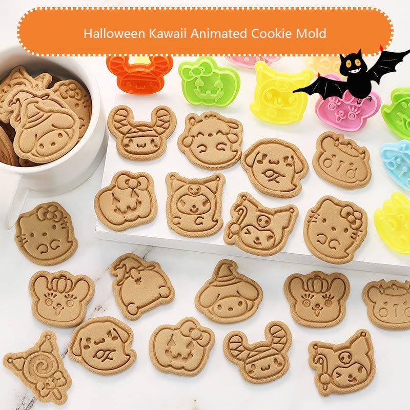 Набор резаков для печенья Хэллоуин Hello Cat, инструмент для хлеба, 3d трехмерный пресс, пластиковый Плунжер, форма для печенья