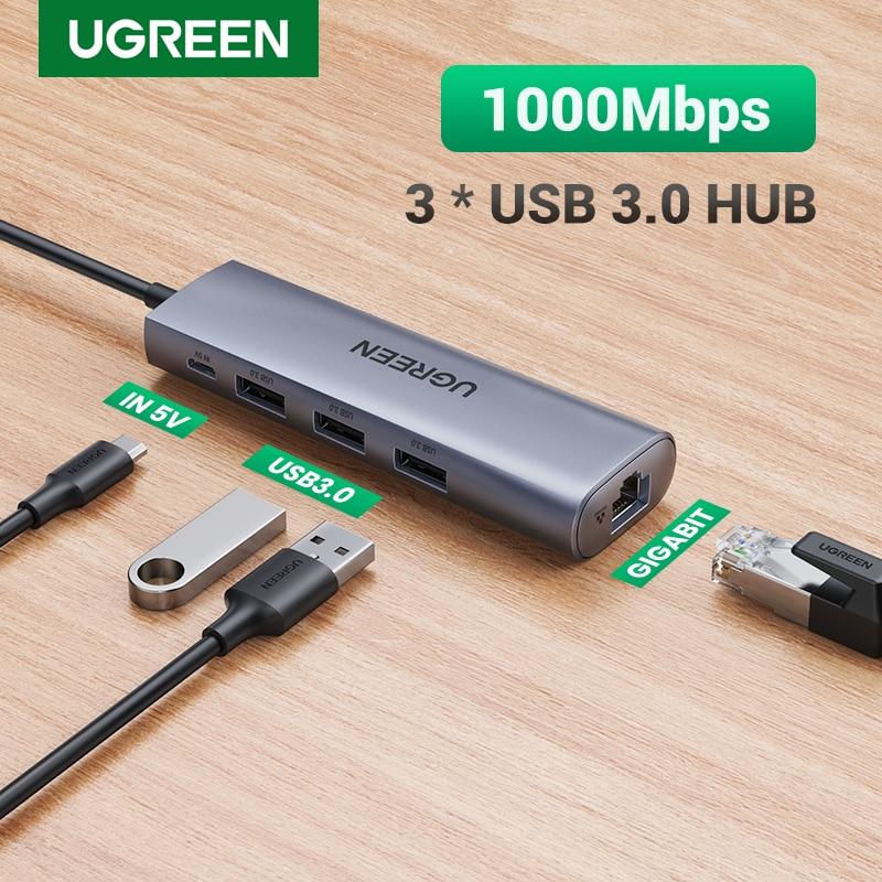 Ugreen USB إيثرنت محول USB 3.0 إلى RJ45 3.0 محور لأجهزة الكمبيوتر المحمول شاومي Mi صندوق S/3 إيثرنت محول بطاقة الشبكة USB Lan